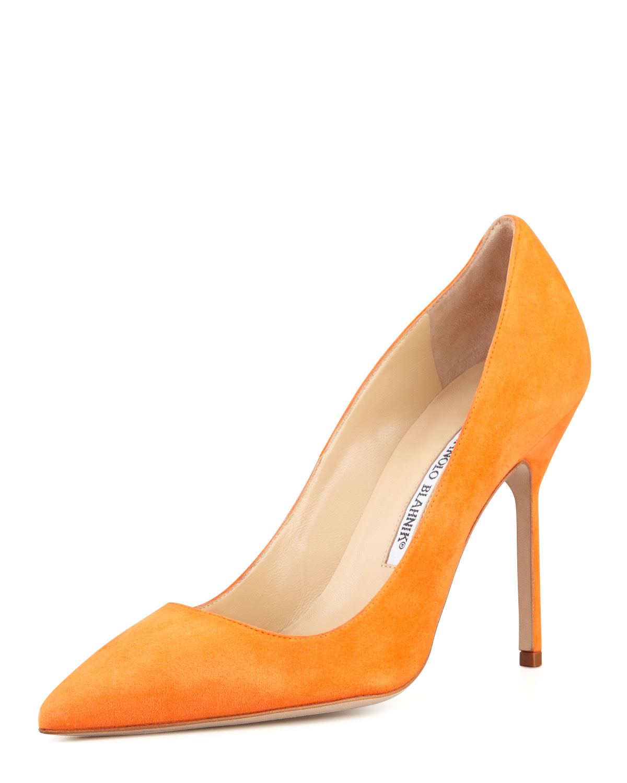 c9f314ed9637a Manolo Blahnik BB Suede High-Heel Pump, Orange | Neiman Marcus