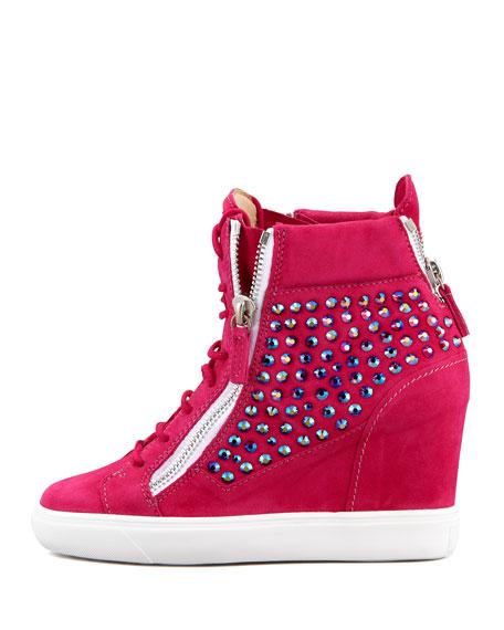 High-Top Crystal-Panel Wedge Sneaker, Fuchsia