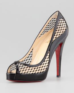 Christian Louboutin Cammilla Fishnet Peep-Toe Red Sole Pump