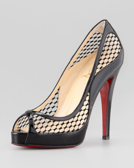 Cammilla Fishnet Peep-Toe Red Sole Pump