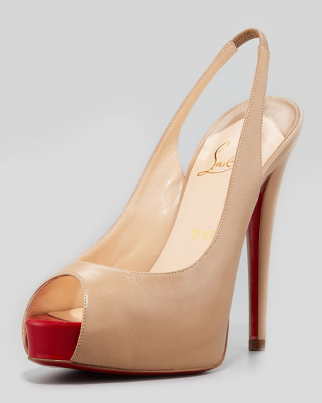 Vendome Leather Red Sole Slingback, Beige