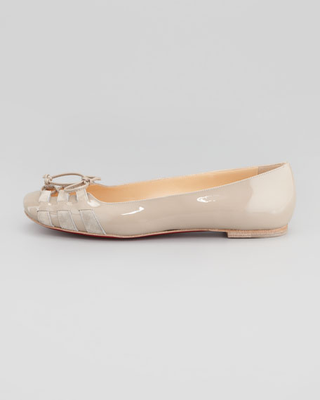 Mostola Patent Laced-Toe Flat, Taupe