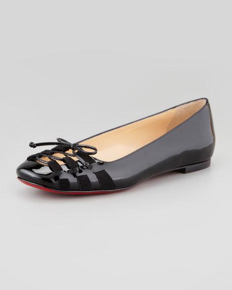 Mostola Patent Laced-Toe Flat, Black