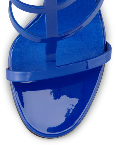 Patent Leather Gladiator Sandal, Cobalt