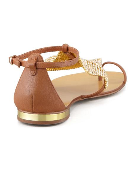 Crystal Mesh Toe-Ring Sandal, Cuero