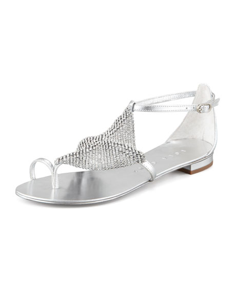 Crystal Mesh Toe-Ring Sandal, Silver
