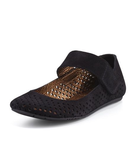Pedro GarciaYlenia Perforated Suede Mary Jane Flat, Black