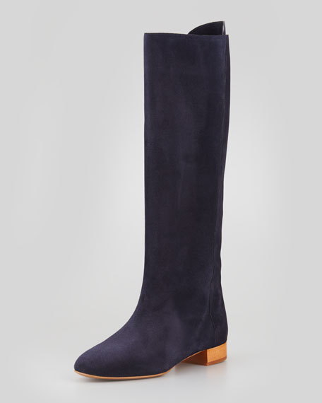 Flat Tall Suede Boot, Navy