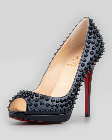 Yolanda Spikes Peep-Toe Red Sole Pump, Blue
