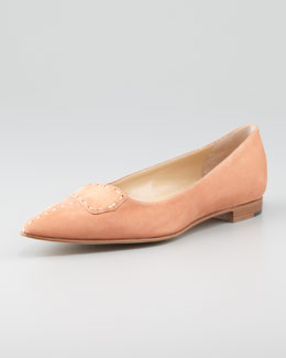 Manolo Blahnik Stivi Suede Point-Toe Flat, Nude