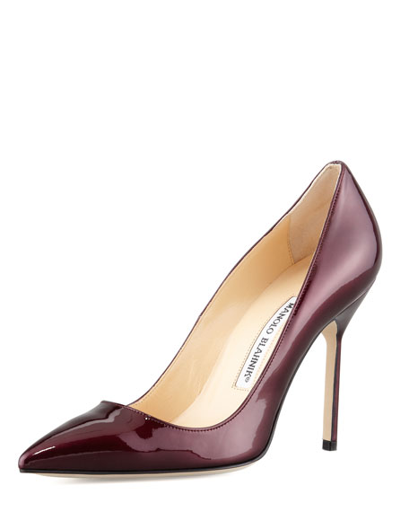 Manolo Blahnik BB Liquid Patent Point-Toe Pump, Wine