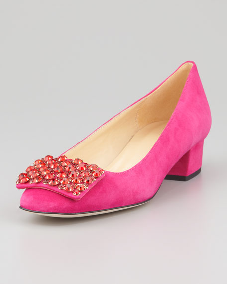 mixer crystal-buckle low-heel pump, ruby