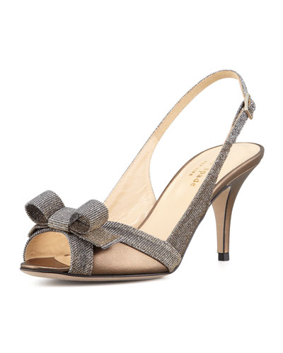 kate spade new york sliver sparkly bow slingback pump