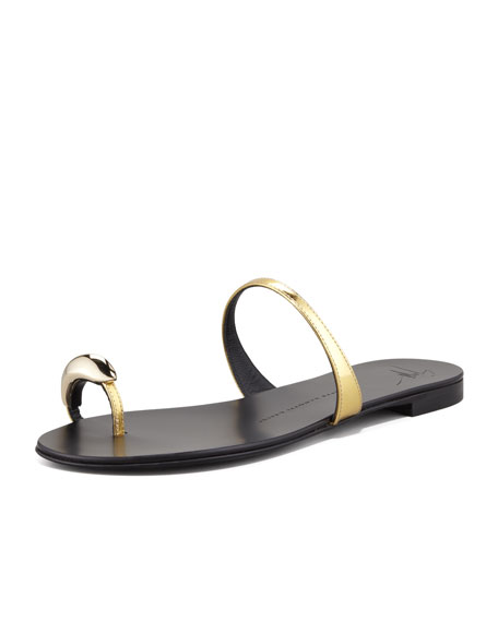 Metallic Toe-Ring Sandal, Gold