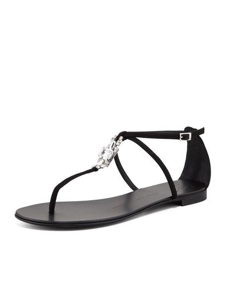 Suede Crystal Thong Sandal, Black