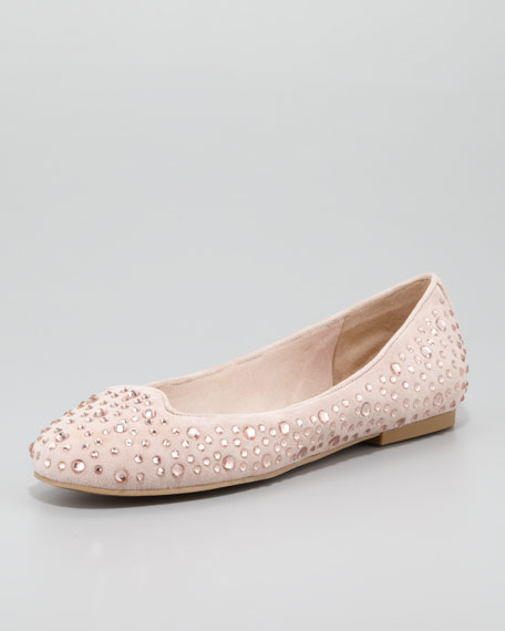 Crystal-Studded Suede Flat