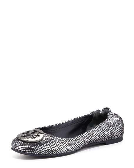 Reva Metallic Snake-Print Ballerina Flat, Pewter