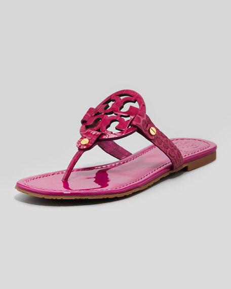Miller Croc-Embossed Thong Sandal, Fuchsia
