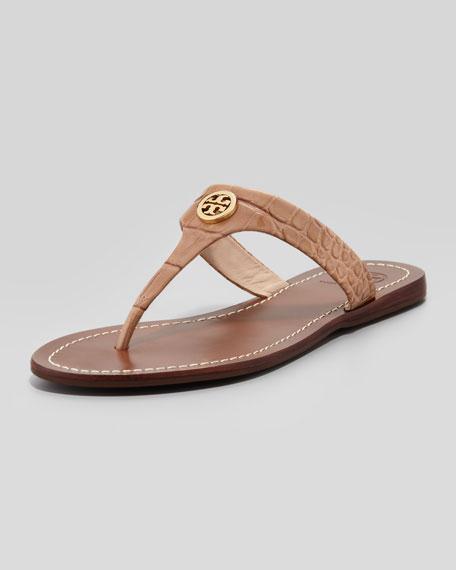 Cameron Croc-Embossed Thong Sandal, Beige
