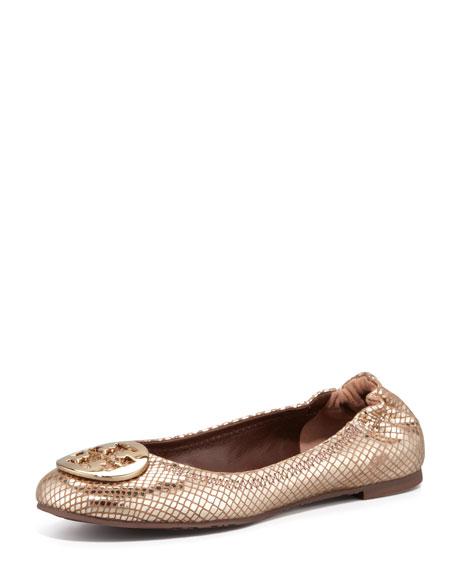 Reva Metallic Snake-Print Ballerina Flat, Bronze