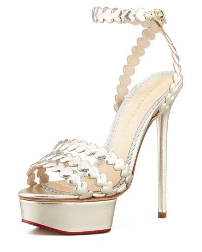 Charlotte Olympia I Heart You Metallic Platform Sandal, Platinum