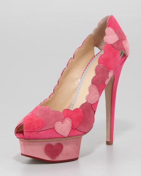 Love Me Heart-Applique Pump, Fuchsia