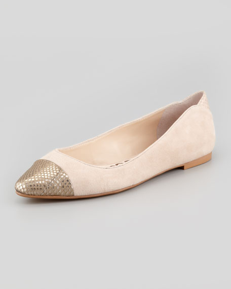 Suede Snake-Toe Ballet Flat, Nude/Zinc