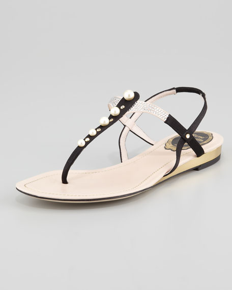 Pearlescent-Beaded Thong Sandal, Black