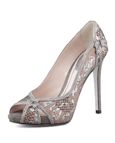Crystal-Trim Lace Platform Pump, Silver