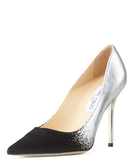 Abel Metallic Suede-Toe Pump, Black/Silver