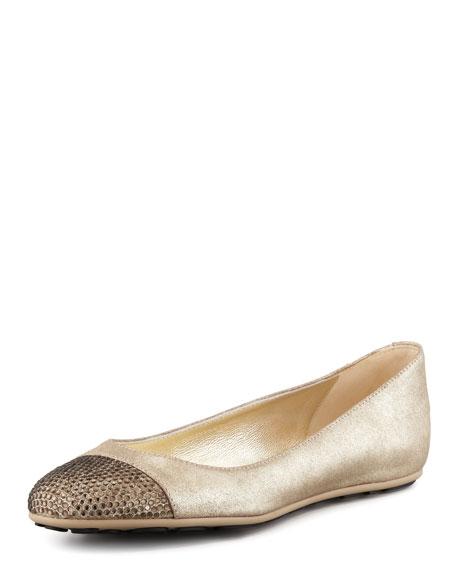 Wrena Crystal-Toe Ballerina Flat, Gold