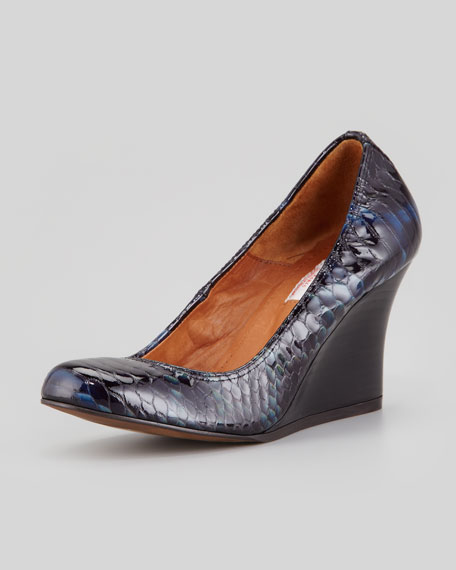 Snake-Embossed Ballerina Wedge Pump, Navy