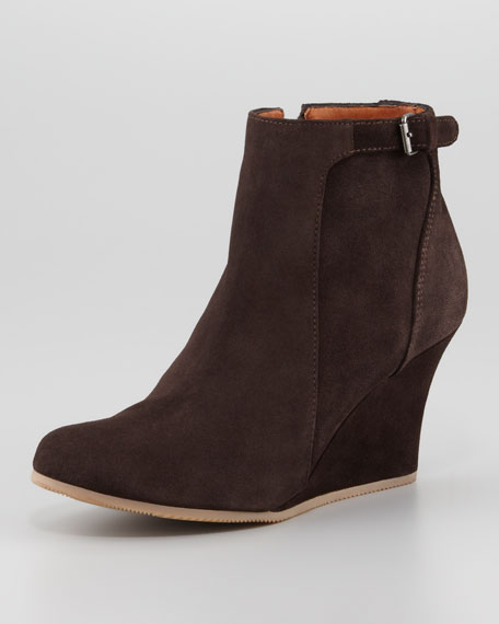 Suede Wedge Ankle Boot, Brown