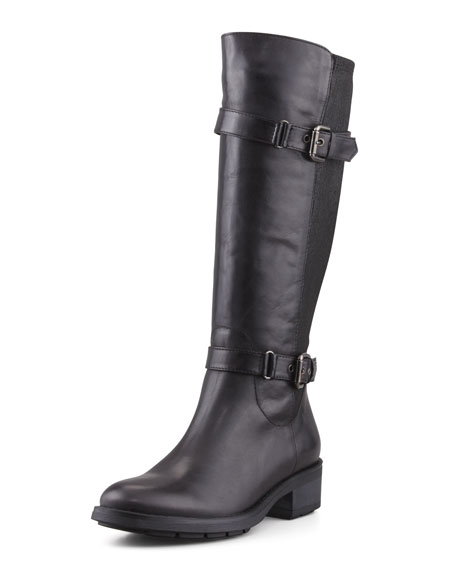 Starry Leather Stretch-Back Boot, Black