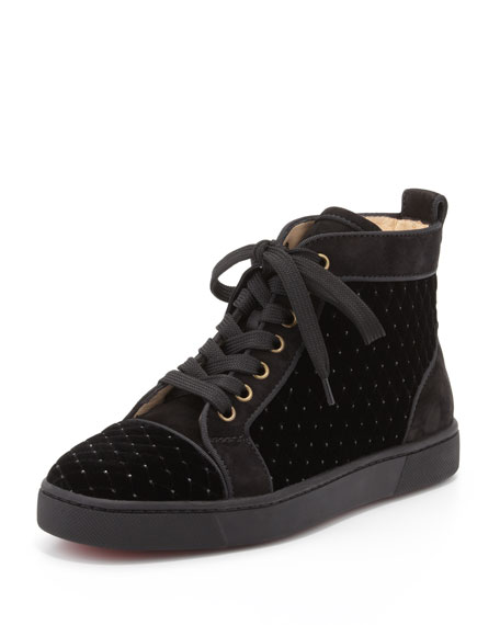 Orlato Red Sole High-Top Sneaker, Black