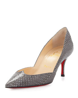 Christian Louboutin Malachic Pointed Snakeskin Red Sole Pump, Gray