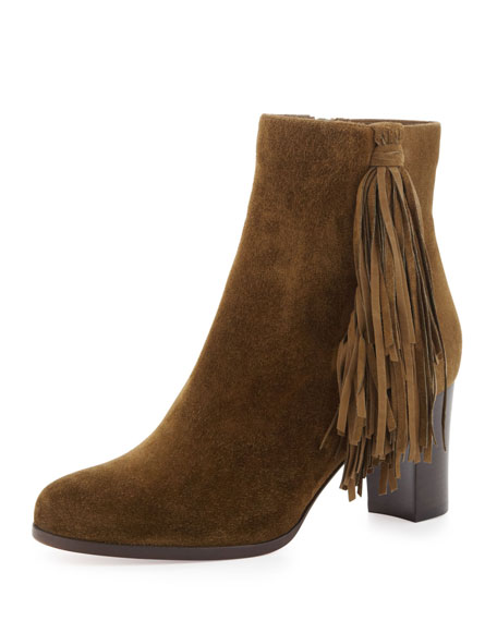 Jimmynetta Suede Fringe Ankle Boot, Olive