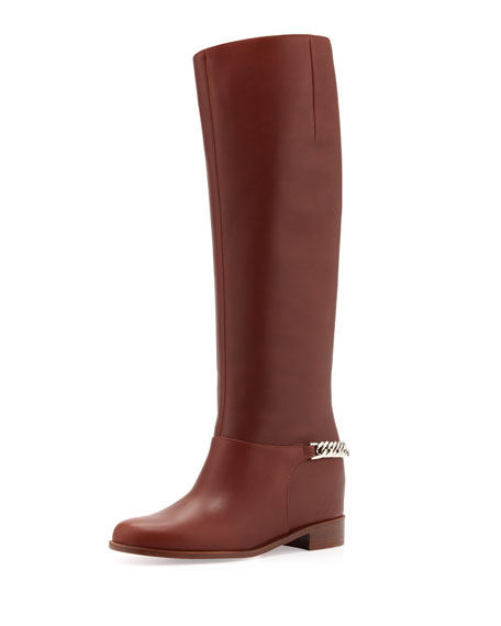 Cate Chain-Trim Red-Sole Knee Boot, Brown
