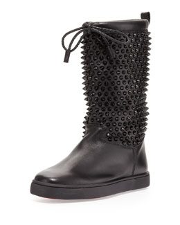 Christian Louboutin Sur La Pony Spiked Napa Boot, Black