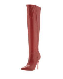 Christian Louboutin Armurabotta Thigh-High Pointy Red Sole Boot, Red