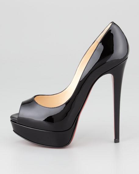 Lady Patent Peep-Toe Platform Pump, Black