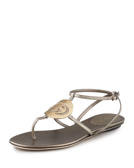 Metallic Flat Logo Thong Sandal, Stone