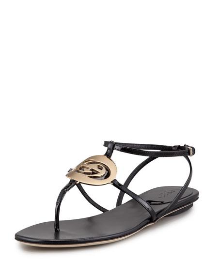 Patent Flat Logo Thong Sandal, Black