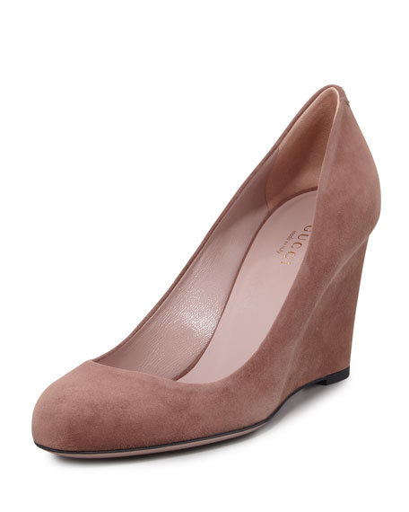 Suede Wedge Pump, Mauve