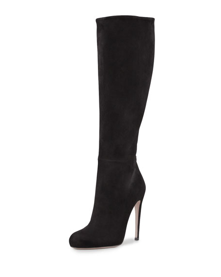 Suede To-the-Knee Boot, Black