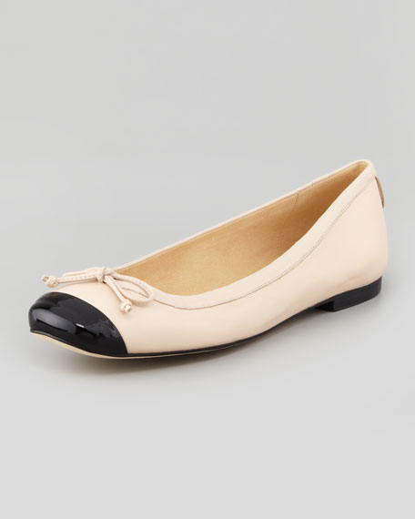Stringtip Cap-Toe Ballet Flat, Tan