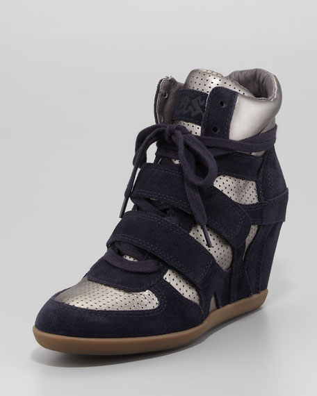 Bea Suede/Metallic Wedge Sneaker