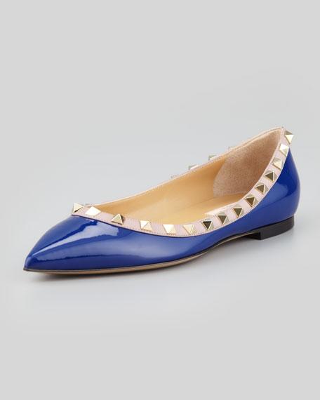 Rockstud Patent Ballerina Flat, Blue
