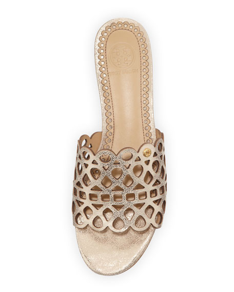 Laser Cut Gold Platinum: Tory Burch Dunn Laser-Cut Slide Wedge, Platinum