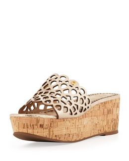 Tory Burch Dunn Laser-Cut Slide Wedge, Platinum